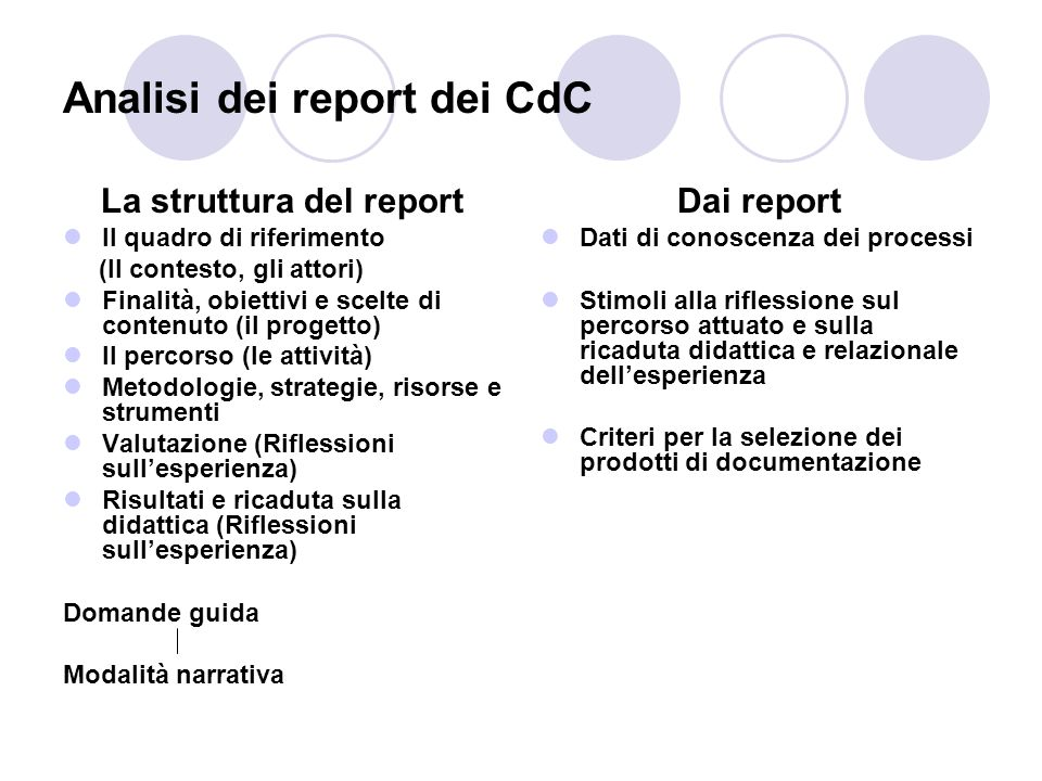 Analisi dei report dei CdC La struttura del report Il quadro di riferimento (Il contesto, gli attori) Finalità, obiettivi e scelte di contenuto (il pr