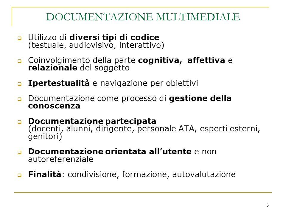 3 DOCUMENTAZIONE MULTIMEDIALE Utilizzo di diversi tipi di codice (testuale, audiovisivo, interattivo) Coinvolgimento della parte cognitiva, affettiva