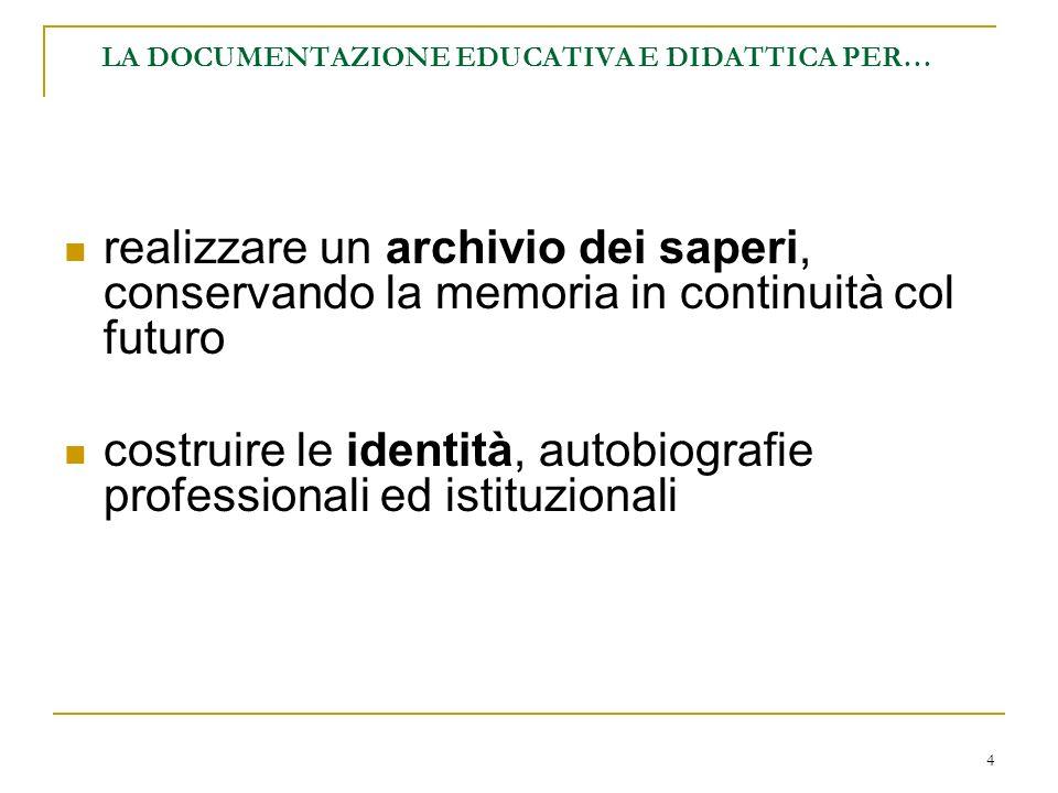 4 LA DOCUMENTAZIONE EDUCATIVA E DIDATTICA PER… realizzare un archivio dei saperi, conservando la memoria in continuità col futuro costruire le identit
