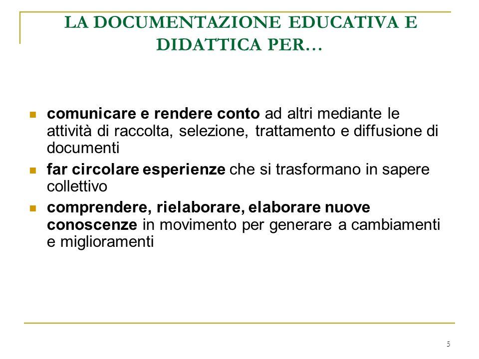 5 LA DOCUMENTAZIONE EDUCATIVA E DIDATTICA PER… comunicare e rendere conto ad altri mediante le attività di raccolta, selezione, trattamento e diffusio