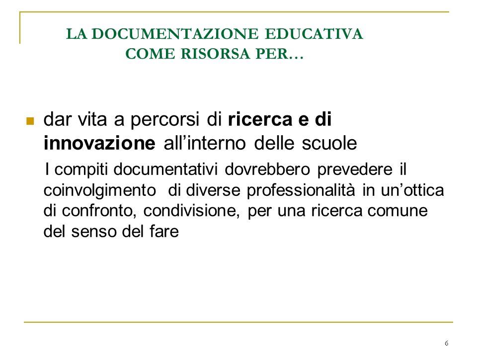 6 LA DOCUMENTAZIONE EDUCATIVA COME RISORSA PER… dar vita a percorsi di ricerca e di innovazione allinterno delle scuole I compiti documentativi dovreb