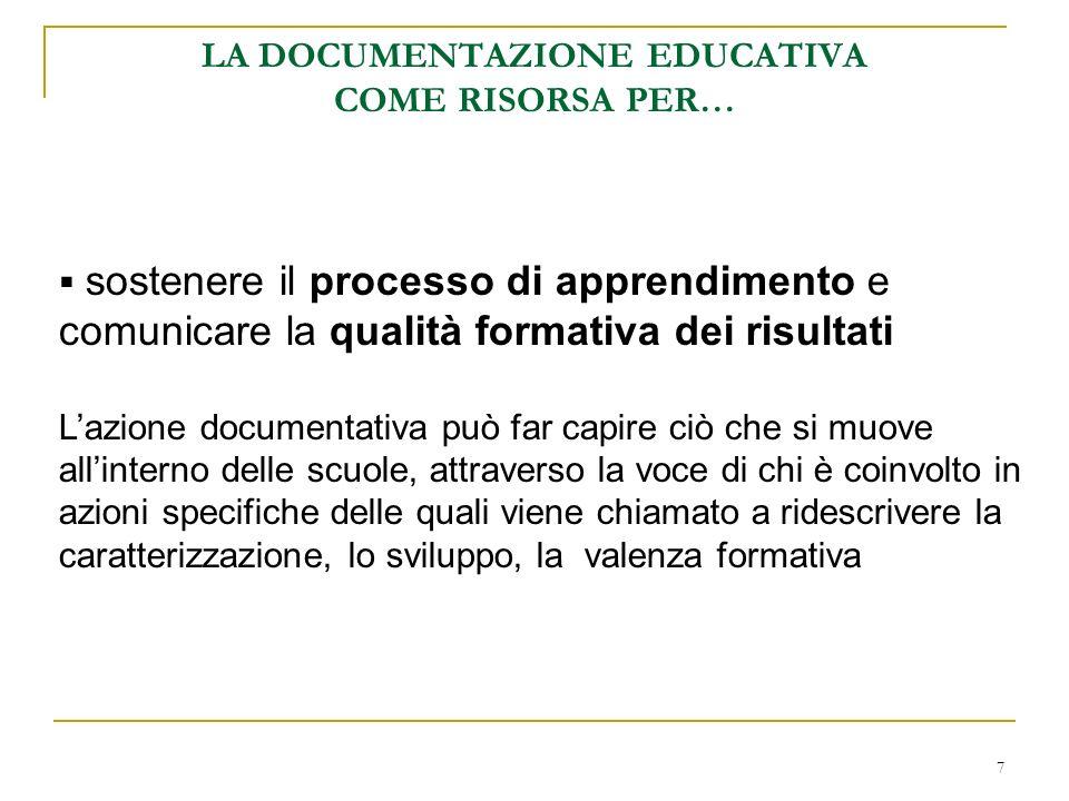 7 LA DOCUMENTAZIONE EDUCATIVA COME RISORSA PER… sostenere il processo di apprendimento e comunicare la qualità formativa dei risultati Lazione documen