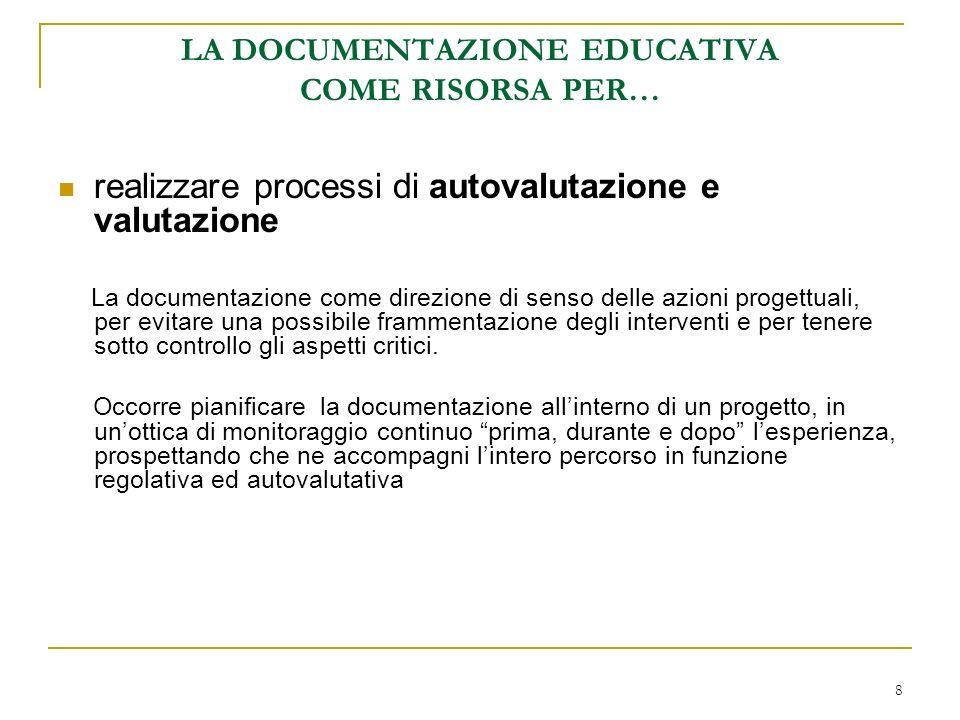8 LA DOCUMENTAZIONE EDUCATIVA COME RISORSA PER… realizzare processi di autovalutazione e valutazione La documentazione come direzione di senso delle a