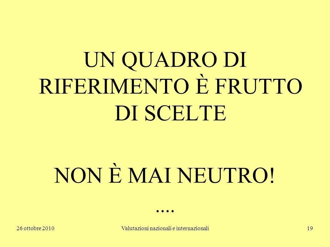 26 ottobre 2010Valutazioni nazionali e internazionali19 UN QUADRO DI RIFERIMENTO È FRUTTO DI SCELTE NON È MAI NEUTRO!....