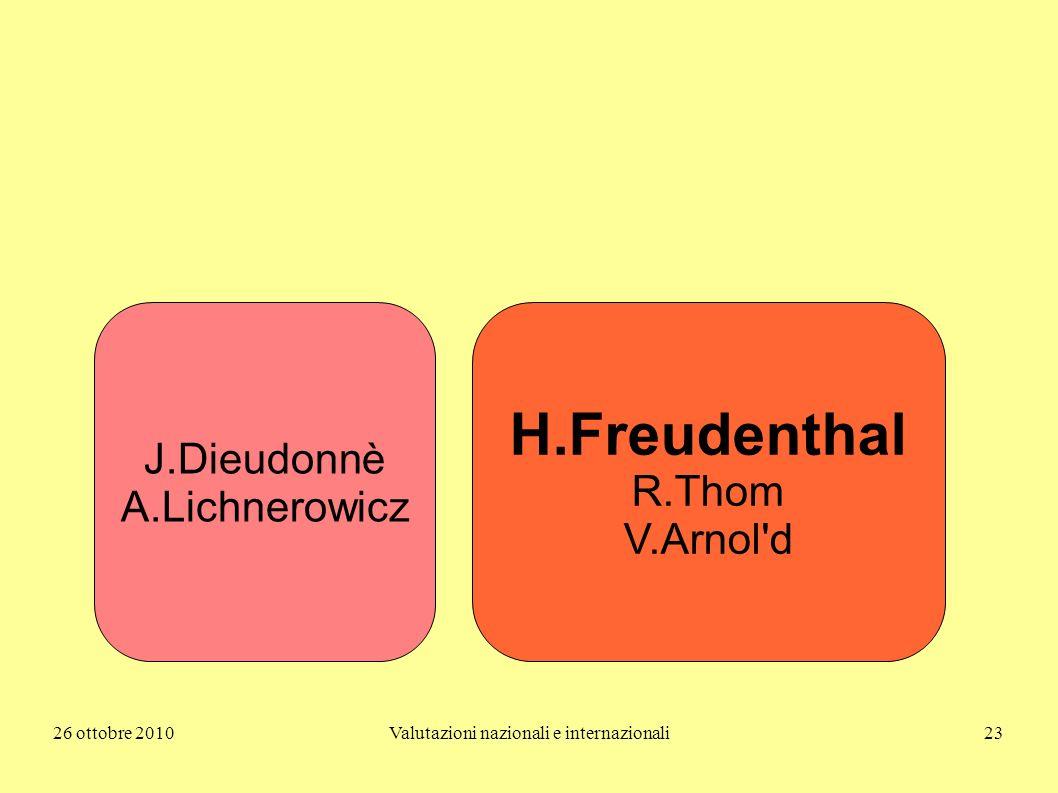 26 ottobre 2010Valutazioni nazionali e internazionali23 J.Dieudonnè A.Lichnerowicz H.Freudenthal R.Thom V.Arnol'd
