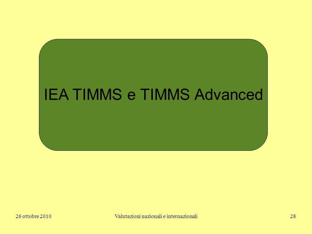 26 ottobre 2010Valutazioni nazionali e internazionali28 IEA TIMMS e TIMMS Advanced