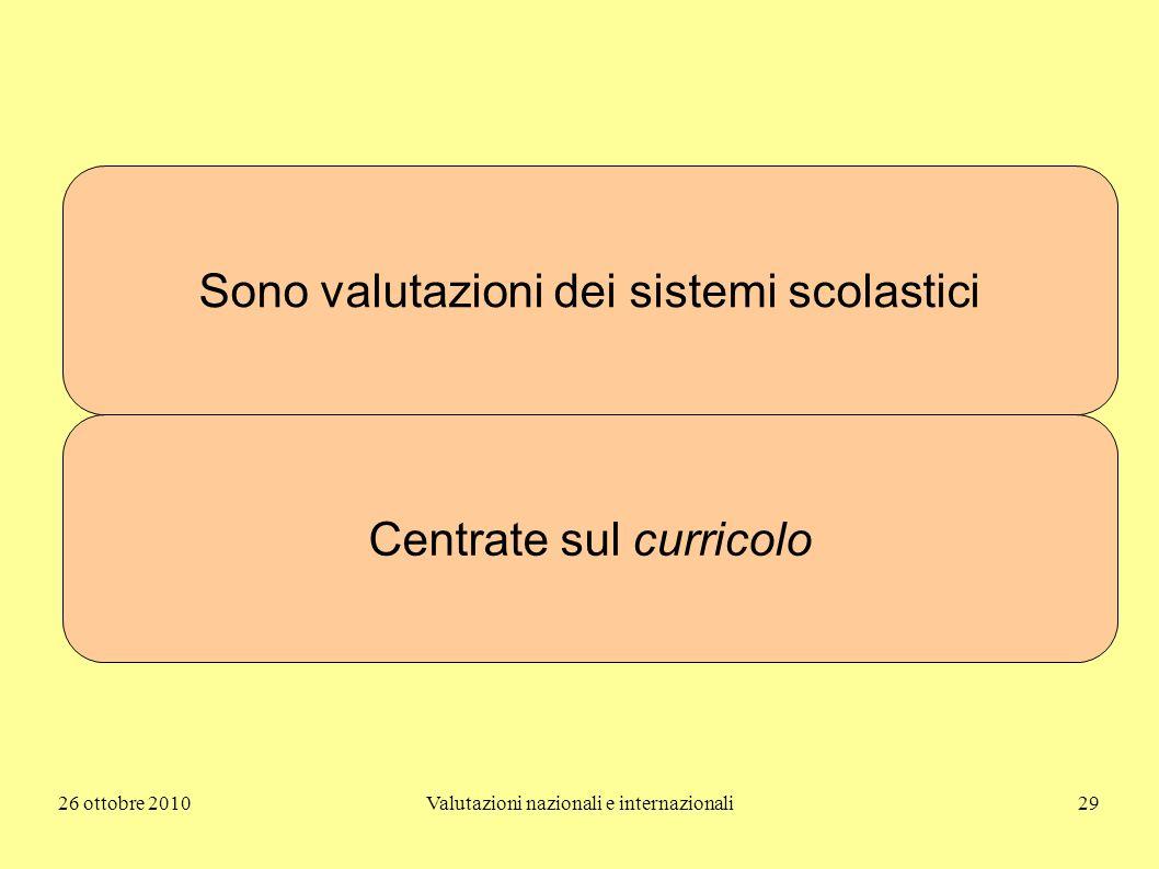 26 ottobre 2010Valutazioni nazionali e internazionali29 Sono valutazioni dei sistemi scolastici Centrate sul curricolo