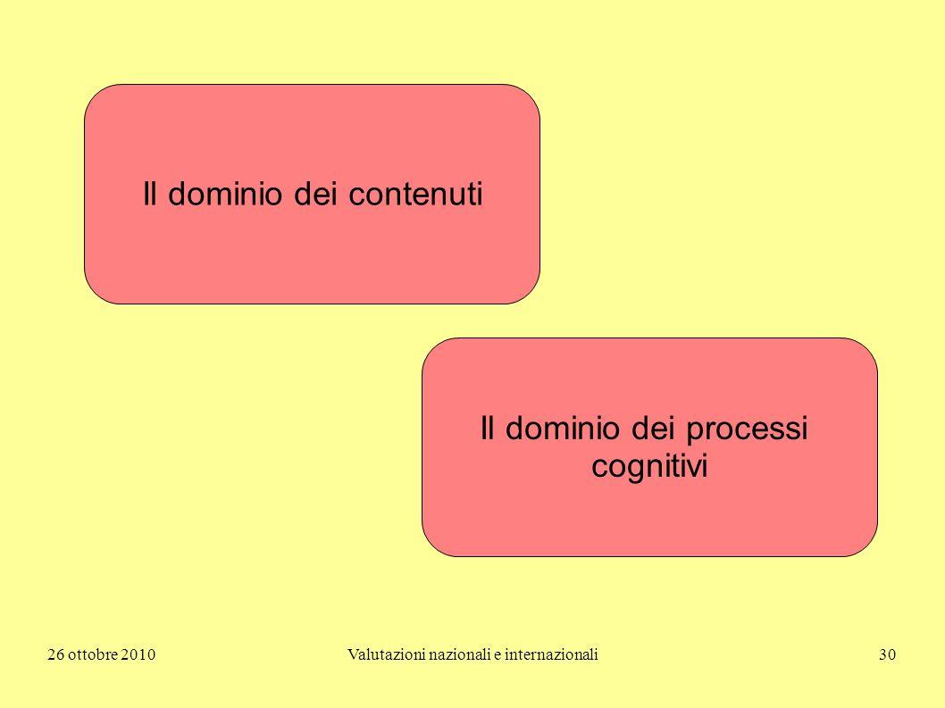26 ottobre 2010Valutazioni nazionali e internazionali30 Il dominio dei contenuti Il dominio dei processi cognitivi