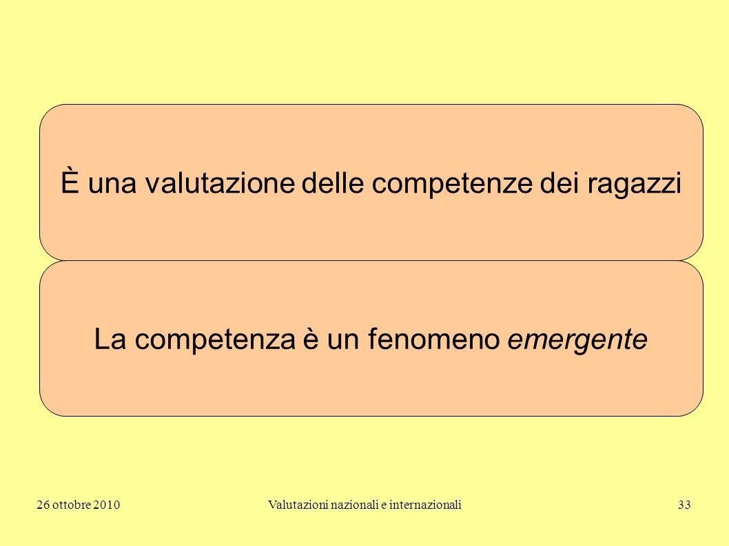 26 ottobre 2010Valutazioni nazionali e internazionali33 È una valutazione delle competenze dei ragazzi La competenza è un fenomeno emergente