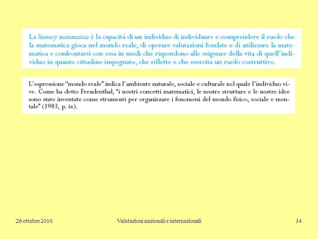 26 ottobre 2010Valutazioni nazionali e internazionali34