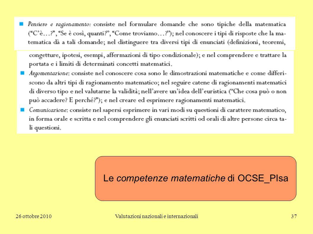 26 ottobre 2010Valutazioni nazionali e internazionali37 Le competenze matematiche di OCSE_PIsa