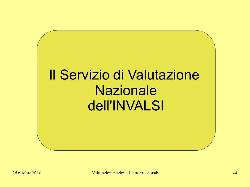 26 ottobre 2010Valutazioni nazionali e internazionali44 Il Servizio di Valutazione Nazionale dell'INVALSI