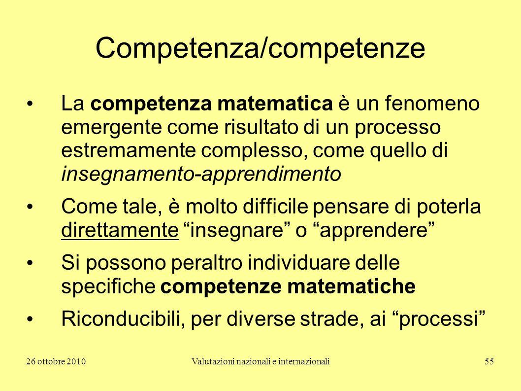26 ottobre 2010Valutazioni nazionali e internazionali55 Competenza/competenze La competenza matematica è un fenomeno emergente come risultato di un pr