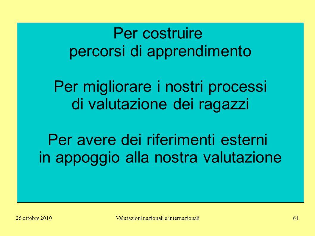 26 ottobre 2010Valutazioni nazionali e internazionali61 Per costruire percorsi di apprendimento Per migliorare i nostri processi di valutazione dei ra