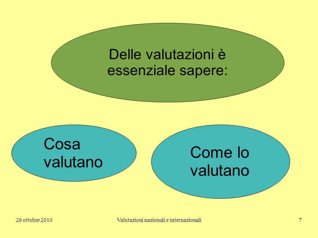 26 ottobre 2010Valutazioni nazionali e internazionali7 Delle valutazioni è essenziale sapere: Cosa valutano Come lo valutano