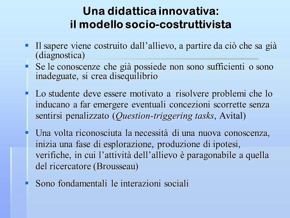 Una didattica innovativa: il modello socio-costruttivista Il sapere viene costruito dallallievo, a partire da ciò che sa già (diagnostica) Il sapere v