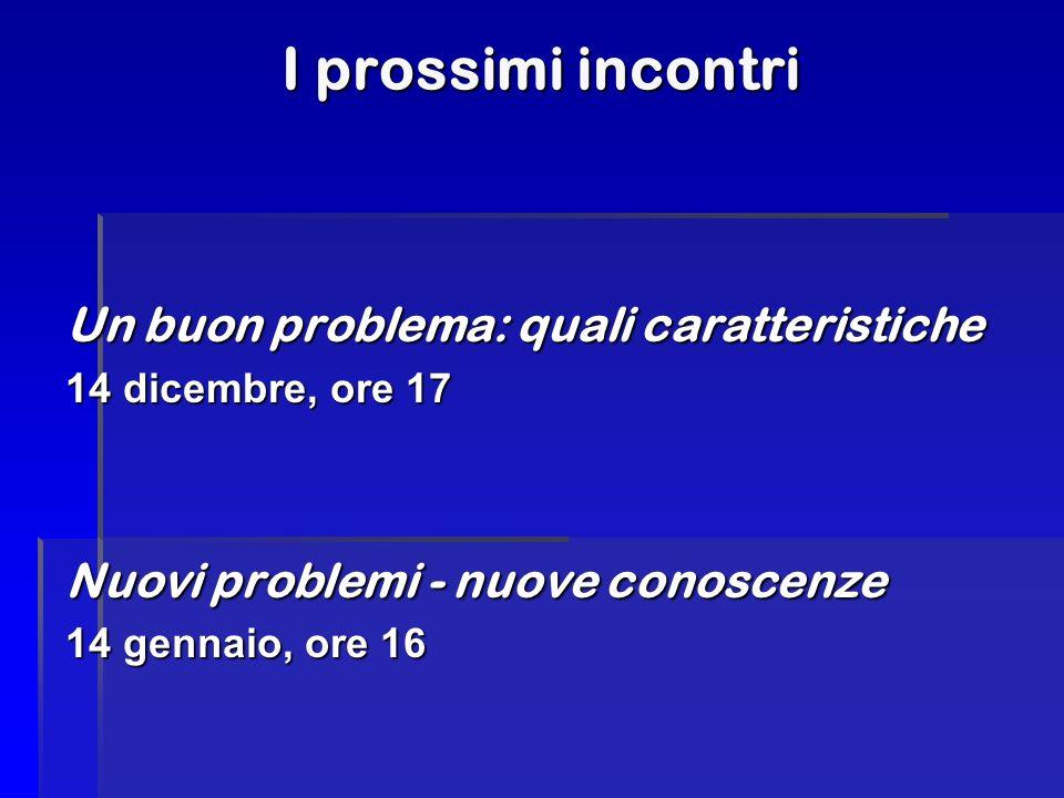 I prossimi incontri Un buon problema: quali caratteristiche 14 dicembre, ore 17 Nuovi problemi - nuove conoscenze 14 gennaio, ore 16