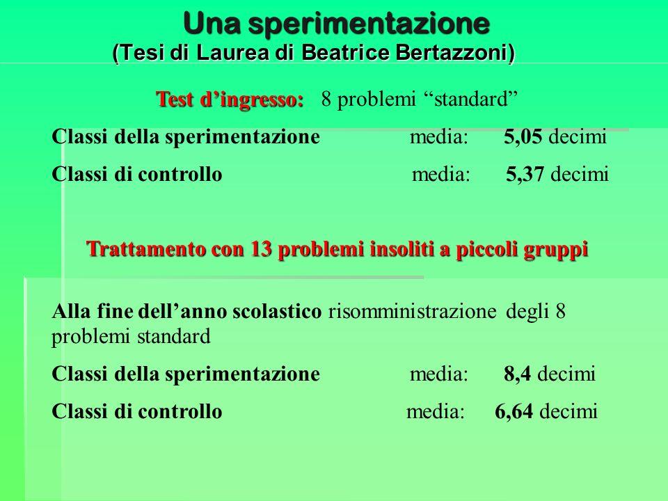 Una sperimentazione (Tesi di Laurea di Beatrice Bertazzoni) Test dingresso: Test dingresso: 8 problemi standard Classi della sperimentazione media: 5,