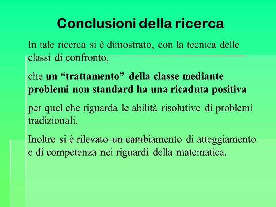 Conclusioni della ricerca In tale ricerca si è dimostrato, con la tecnica delle classi di confronto, che un trattamento della classe mediante problemi