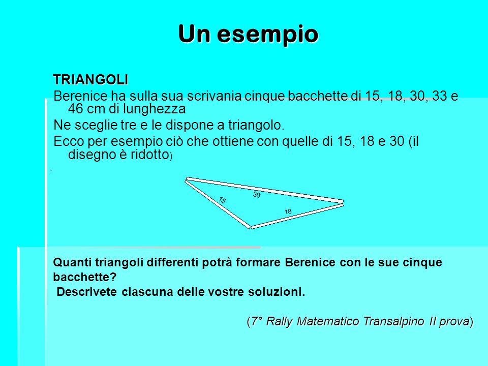 Un esempio TRIANGOLI TRIANGOLI Berenice ha sulla sua scrivania cinque bacchette di 15, 18, 30, 33 e 46 cm di lunghezza Ne sceglie tre e le dispone a t