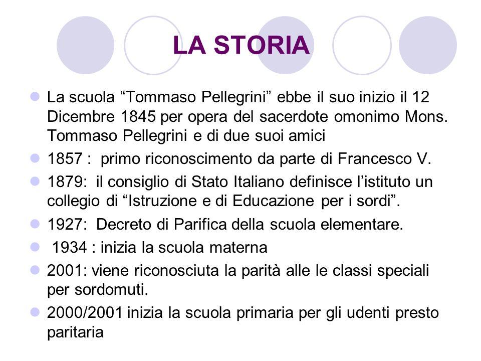 LA STORIA La scuola Tommaso Pellegrini ebbe il suo inizio il 12 Dicembre 1845 per opera del sacerdote omonimo Mons. Tommaso Pellegrini e di due suoi a