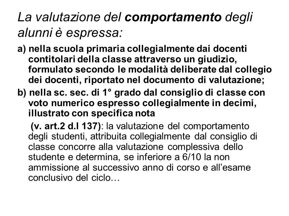 La valutazione del comportamento degli alunni è espressa: a) nella scuola primaria collegialmente dai docenti contitolari della classe attraverso un g