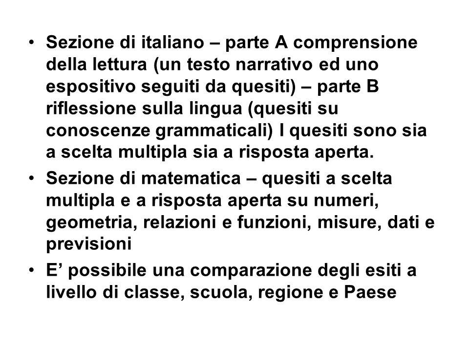 Sezione di italiano – parte A comprensione della lettura (un testo narrativo ed uno espositivo seguiti da quesiti) – parte B riflessione sulla lingua