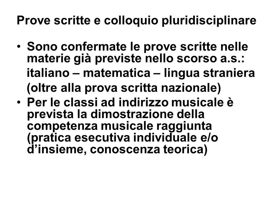 Prove scritte e colloquio pluridisciplinare Sono confermate le prove scritte nelle materie già previste nello scorso a.s.: italiano – matematica – lin