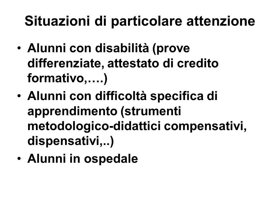 Situazioni di particolare attenzione Alunni con disabilità (prove differenziate, attestato di credito formativo,….) Alunni con difficoltà specifica di