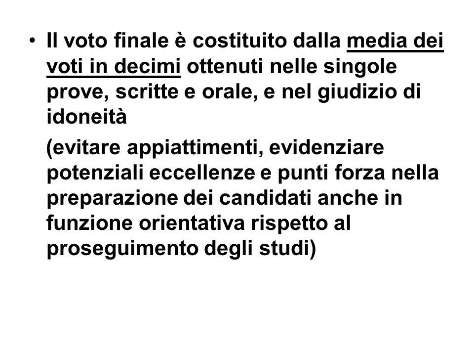 Il voto finale è costituito dalla media dei voti in decimi ottenuti nelle singole prove, scritte e orale, e nel giudizio di idoneità (evitare appiatti