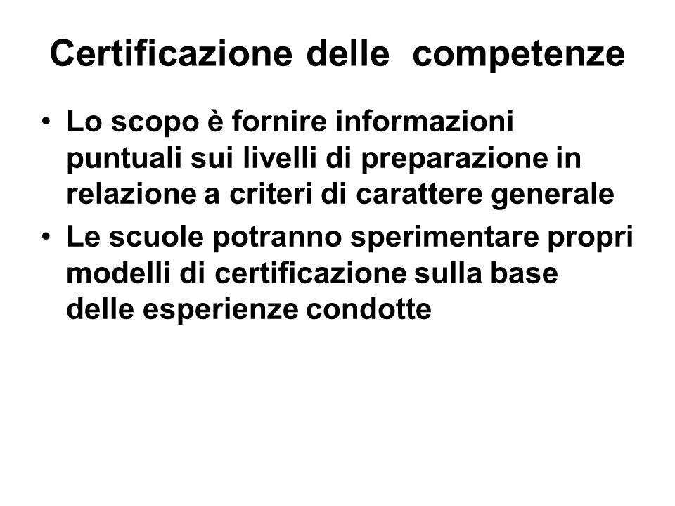 Certificazione delle competenze Lo scopo è fornire informazioni puntuali sui livelli di preparazione in relazione a criteri di carattere generale Le s