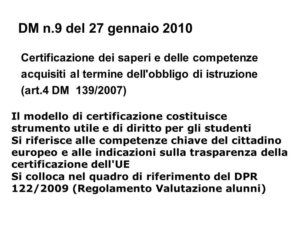 DM n.9 del 27 gennaio 2010 Certificazione dei saperi e delle competenze acquisiti al termine dell'obbligo di istruzione (art.4 DM 139/2007) Il modello
