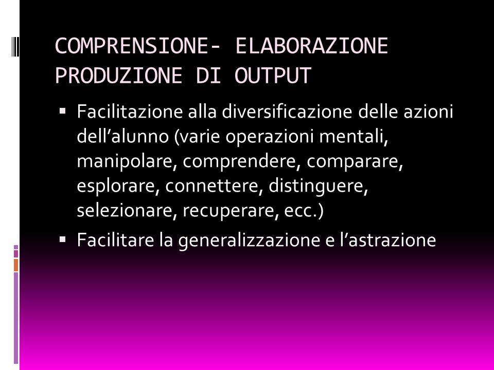 COMPRENSIONE- ELABORAZIONE PRODUZIONE DI OUTPUT Facilitazione alla diversificazione delle azioni dellalunno (varie operazioni mentali, manipolare, com