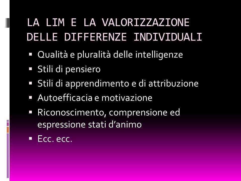 LA LIM E LA VALORIZZAZIONE DELLE DIFFERENZE INDIVIDUALI Qualità e pluralità delle intelligenze Stili di pensiero Stili di apprendimento e di attribuzi