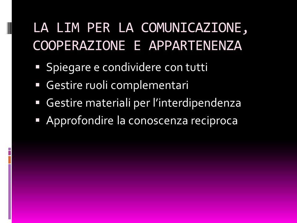 LA LIM PER LA COMUNICAZIONE, COOPERAZIONE E APPARTENENZA Spiegare e condividere con tutti Gestire ruoli complementari Gestire materiali per linterdipe