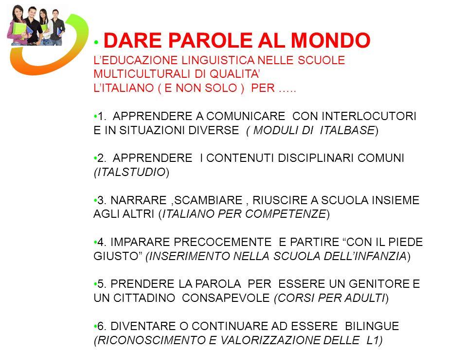 DARE PAROLE AL MONDO LEDUCAZIONE LINGUISTICA NELLE SCUOLE MULTICULTURALI DI QUALITA LITALIANO ( E NON SOLO ) PER ….. 1. APPRENDERE A COMUNICARE CON IN