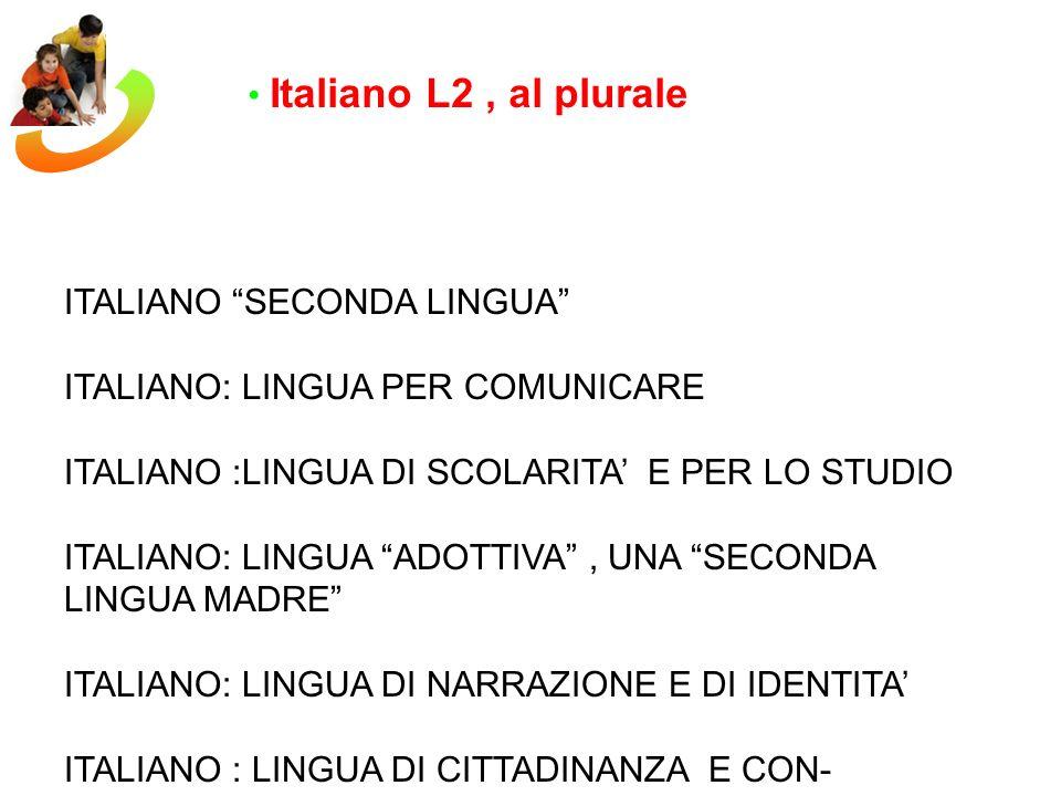 Italiano L2, al plurale ITALIANO SECONDA LINGUA ITALIANO: LINGUA PER COMUNICARE ITALIANO :LINGUA DI SCOLARITA E PER LO STUDIO ITALIANO: LINGUA ADOTTIV
