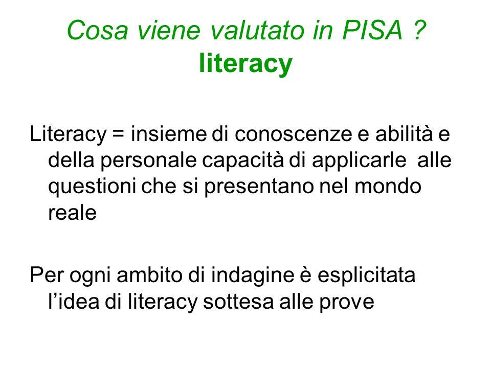 Cosa viene valutato in PISA ? literacy Literacy = insieme di conoscenze e abilità e della personale capacità di applicarle alle questioni che si prese
