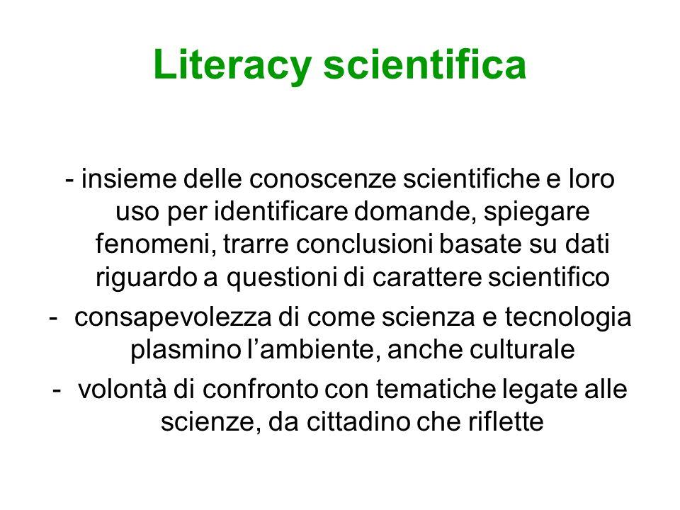 Literacy scientifica - insieme delle conoscenze scientifiche e loro uso per identificare domande, spiegare fenomeni, trarre conclusioni basate su dati