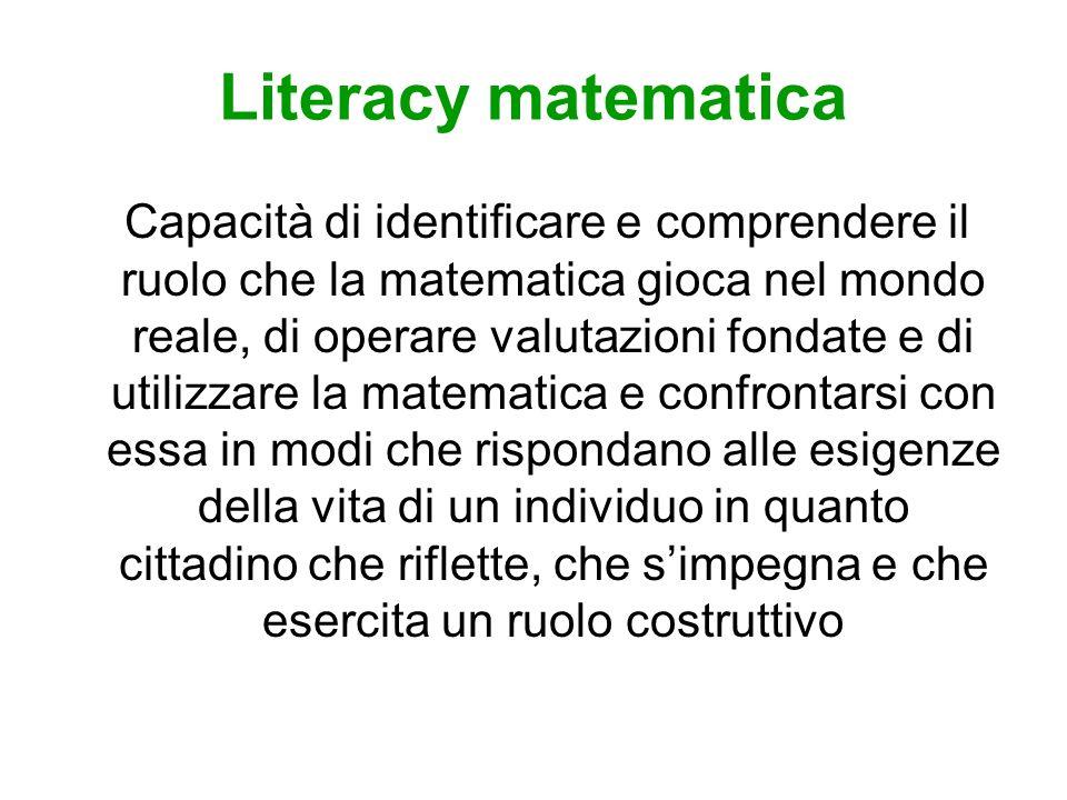 Literacy matematica Capacità di identificare e comprendere il ruolo che la matematica gioca nel mondo reale, di operare valutazioni fondate e di utilizzare la matematica e confrontarsi con essa in modi che rispondano alle esigenze della vita di un individuo in quanto cittadino che riflette, che simpegna e che esercita un ruolo costruttivo