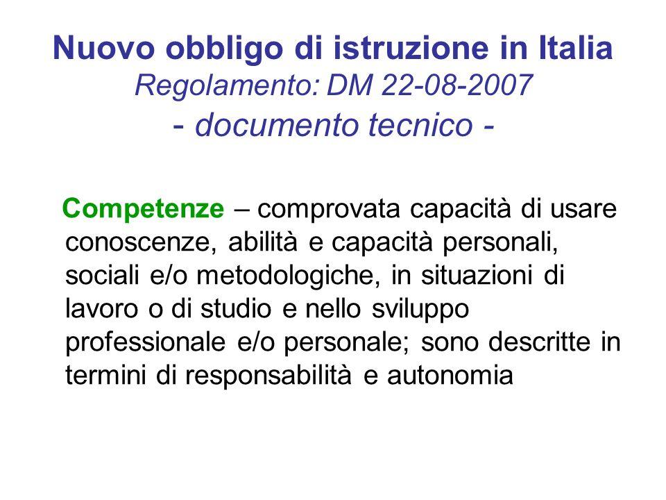 Nuovo obbligo di istruzione in Italia Regolamento: DM 22-08-2007 - documento tecnico - Competenze – comprovata capacità di usare conoscenze, abilità e