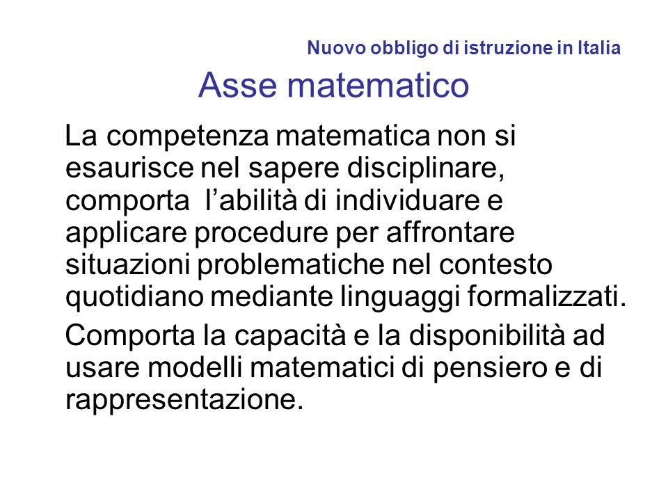Nuovo obbligo di istruzione in Italia Asse matematico La competenza matematica non si esaurisce nel sapere disciplinare, comporta labilità di individu
