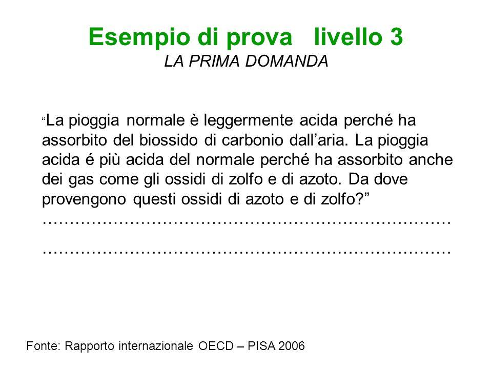 Esempio di prova livello 3 LA PRIMA DOMANDA Fonte: Rapporto internazionale OECD – PISA 2006 La pioggia normale è leggermente acida perché ha assorbito del biossido di carbonio dallaria.