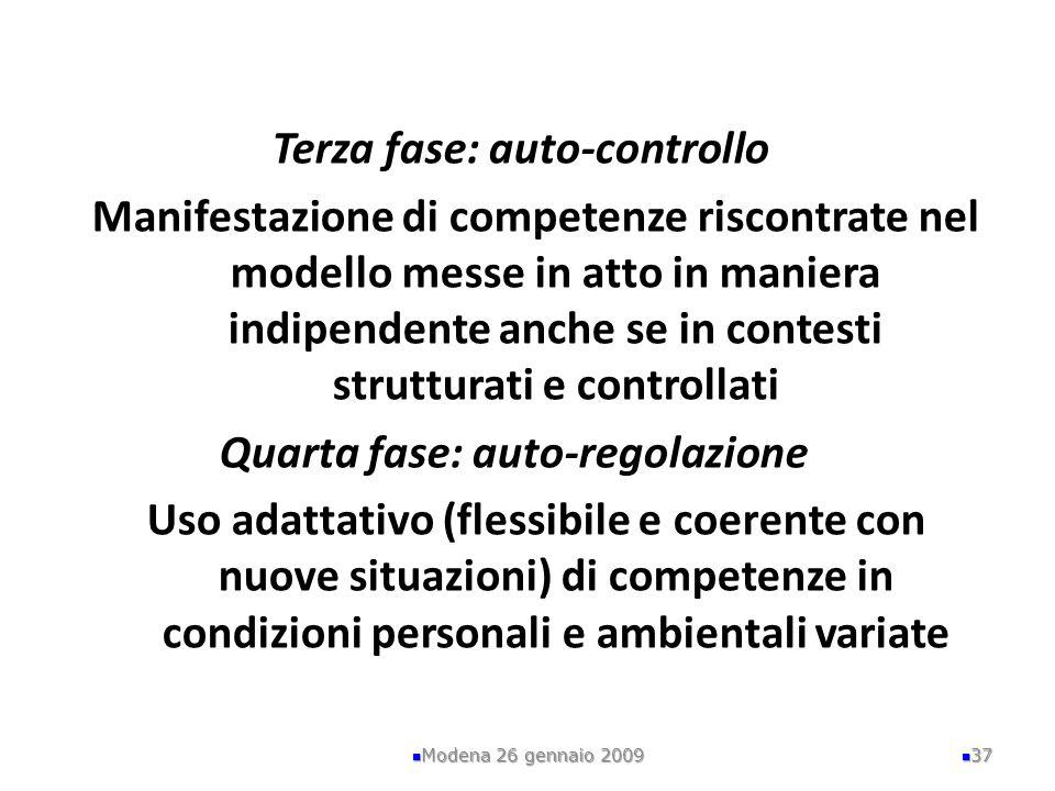 Terza fase: auto-controllo Manifestazione di competenze riscontrate nel modello messe in atto in maniera indipendente anche se in contesti strutturati