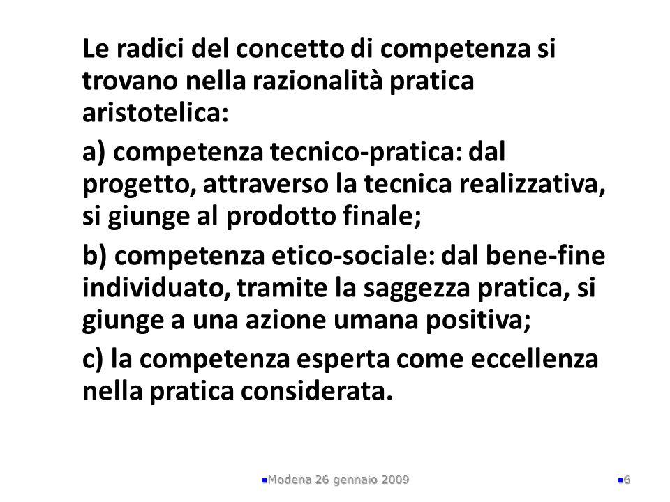 P = prestazione Modena 26 gennaio 2009 17 P Conoscenze Disposizioni interne stabili Abilità In una manifestazione di competenza esse vengono mobilizzate e coordinate
