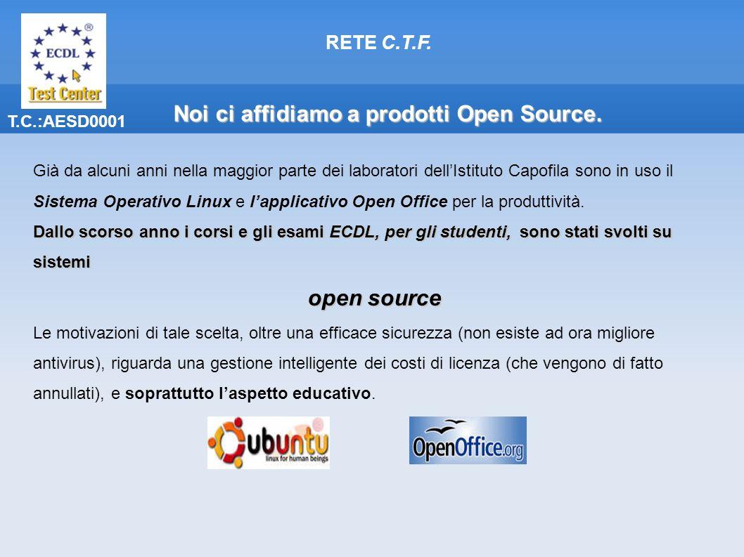 T.C.:AESD0001 Già da alcuni anni nella maggior parte dei laboratori dellIstituto Capofila sono in uso il Sistema Operativo Linux e lapplicativo Open Office per la produttività.