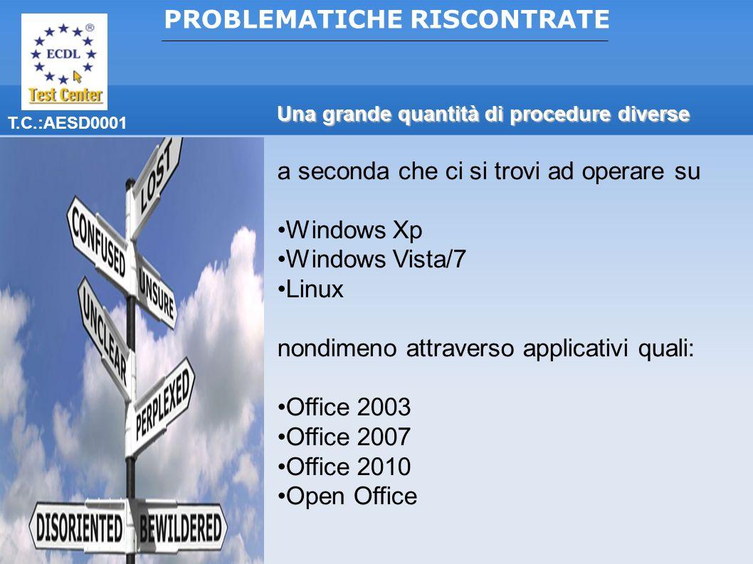 T.C.:AESD0001 Una grande quantità di procedure diverse a seconda che ci si trovi ad operare su Windows Xp Windows Vista/7 Linux nondimeno attraverso applicativi quali: Office 2003 Office 2007 Office 2010 Open Office PROBLEMATICHE RISCONTRATE