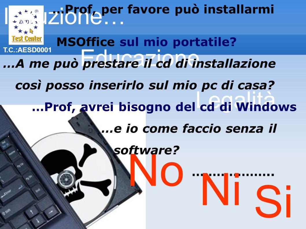 T.C.:AESD0001 No Istruzione… Educazione… Legalità… …Prof, per favore può installarmi MSOffice sul mio portatile? …A me può prestare il cd di installaz