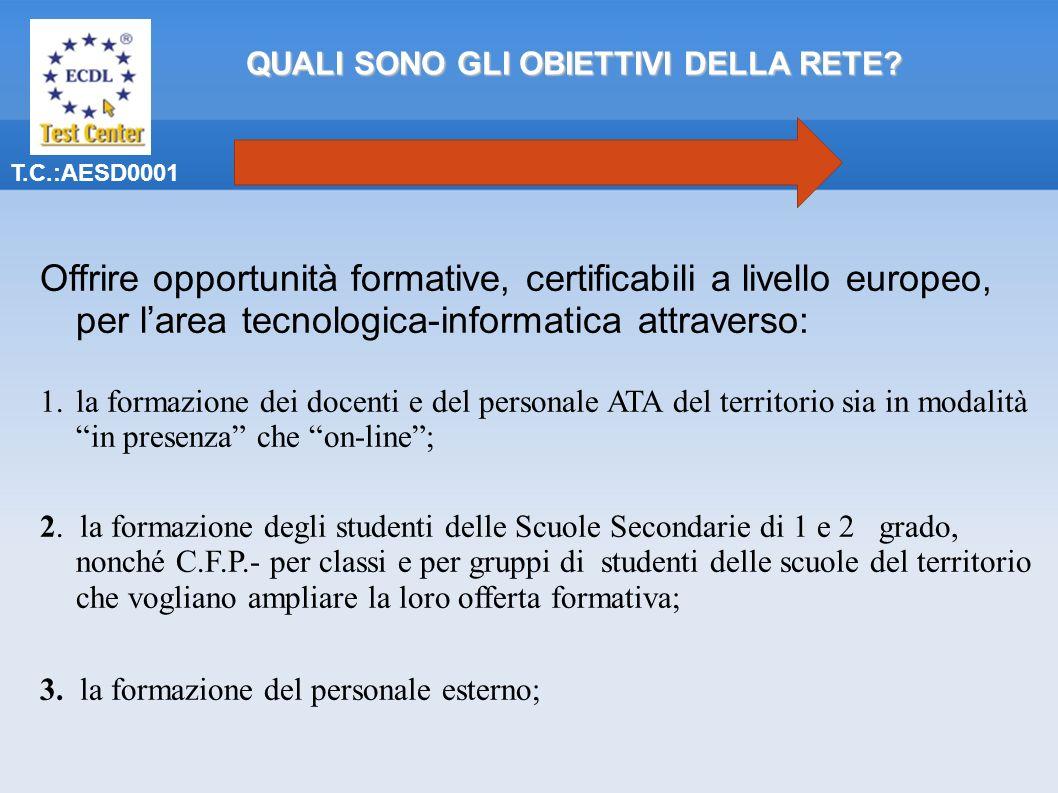 T.C.:AESD0001 Offrire opportunità formative, certificabili a livello europeo, per larea tecnologica-informatica attraverso: 1.la formazione dei docenti e del personale ATA del territorio sia in modalità in presenza che on-line; 2.