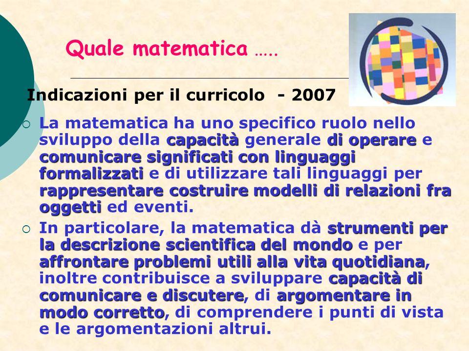 Quale matematica ….. Indicazioni per il curricolo - 2007 capacitàdi operare comunicare significati con linguaggi formalizzati rappresentare costruire